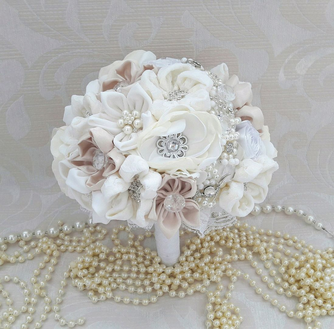 White wedding brooch bouquet made of tissues winter bouquet shop brooch wedding flowers handmade order white wedding brooch bouquet made of tissues winter bouquet izmirmasajfo