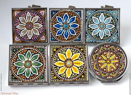 Подарки коллегам, подарки друзьям, подарки родным, небольшой подарок, зеркало с росписью, расписное зеркальце, карманное зеркальце, сувенирное зеркальце, растительный орнамент, ручная роспись, зеркало