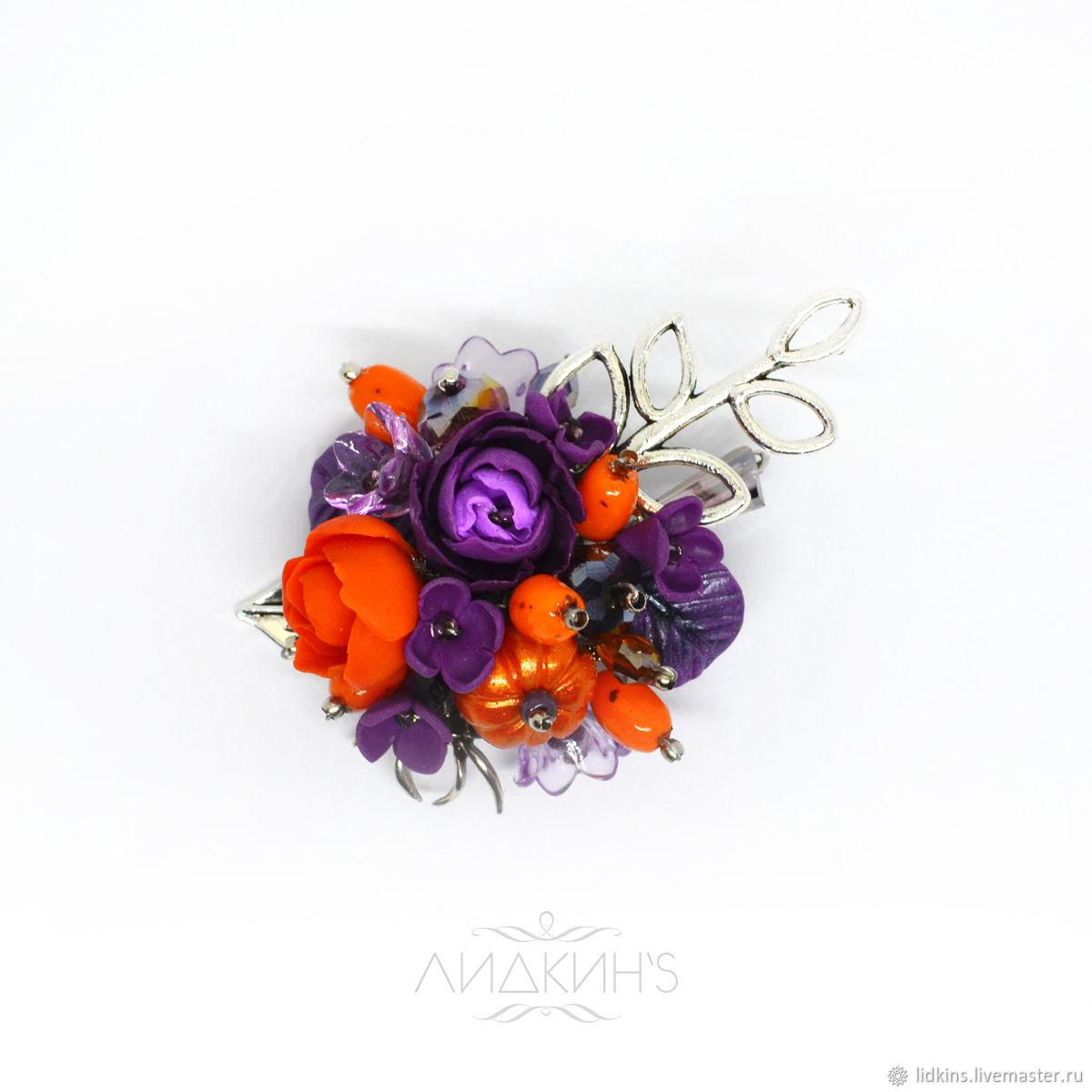 Brooch orange-purple, Brooches, Sestroretsk,  Фото №1