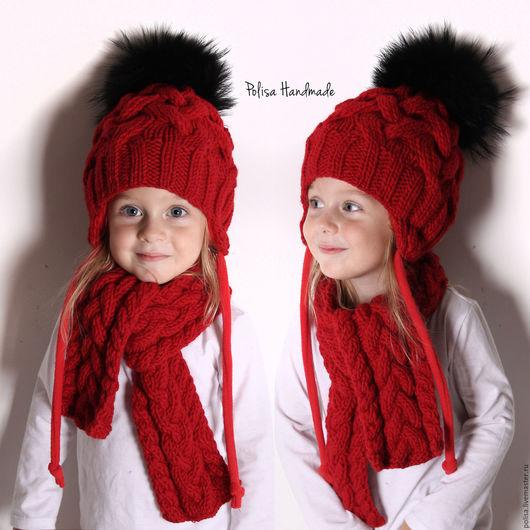 Шапки и шарфы ручной работы. Ярмарка Мастеров - ручная работа. Купить Зимняя шапка с помпоном и шарф. Handmade. Орнамент