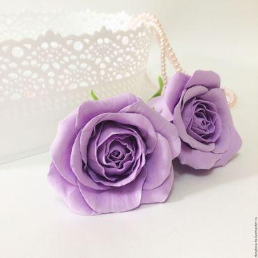 Свадебный салон ручной работы. Ярмарка Мастеров - ручная работа Сиреневая, лиловая роза из фоамирана. Свадебный букет. Заколка Ободок. Handmade.