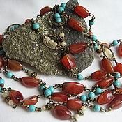 Украшения handmade. Livemaster - original item set with carnelian, turquoise, and jadeite.. Handmade.