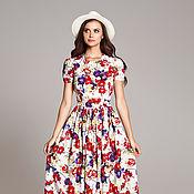 Одежда ручной работы. Ярмарка Мастеров - ручная работа Белое платье с цветочным принтом, платье в пол, платье макси. Handmade.