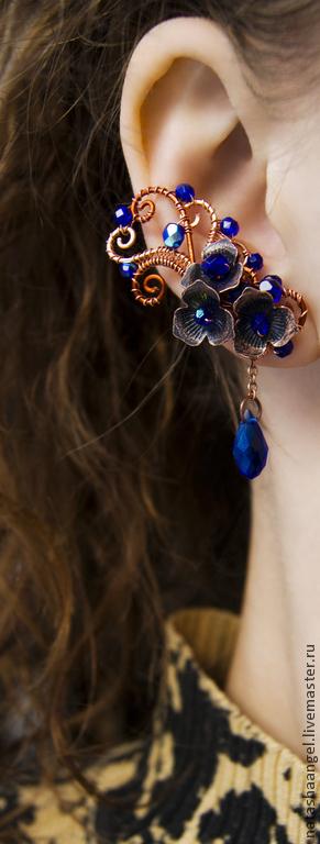 """Серьги ручной работы. Ярмарка Мастеров - ручная работа. Купить Пины """"Медные цветы"""" (синие серьги медь, синий цвет, украшения из меди). Handmade."""