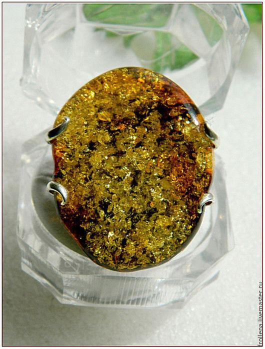"""Кольца ручной работы. Ярмарка Мастеров - ручная работа. Купить Кольцо """"Колдовское озеро""""  зеленый янтарь посеребрение. Handmade. Янтарный"""