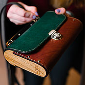 Сумки и аксессуары handmade. Livemaster - original item Colorfull GB women`s leather and wood clutch bag. Handmade.