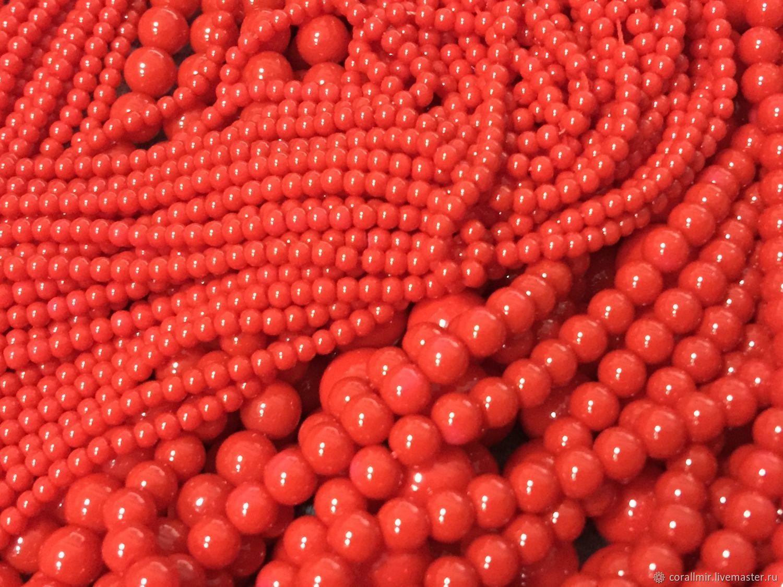 Жемчуг Майорка  (47) Красный Коралл Шар, размеры с 3 по 14 мм, Бусины, Обнинск,  Фото №1