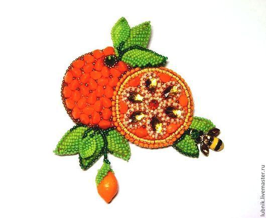 """Броши ручной работы. Ярмарка Мастеров - ручная работа. Купить Брошь """"Апельсин"""". Handmade. Оранжевый, Вышивка бисером, бисер японский"""