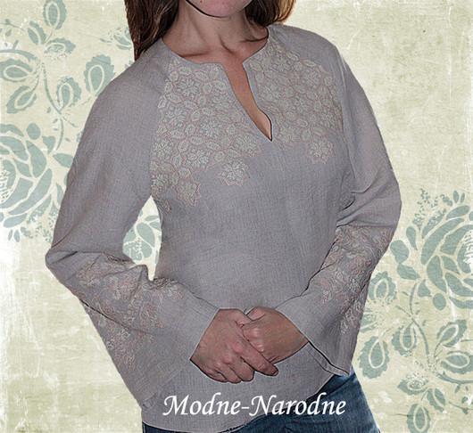Модная одежда с ручной вышивкой. Творческое ателье modne-narodne. Льняная блуза с ручной вышивкой Лилия.