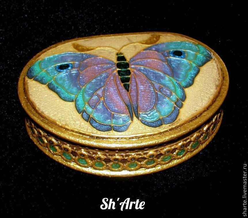 Trinket Boxes handmade. Livemaster - handmade. Buy Box Butterfly art Nouveau -3.Art deco, butterfly, beige