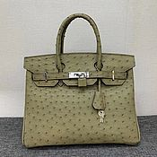 Сумки и аксессуары handmade. Livemaster - original item Classic bag, made of genuine ostrich leather, in beige color!. Handmade.