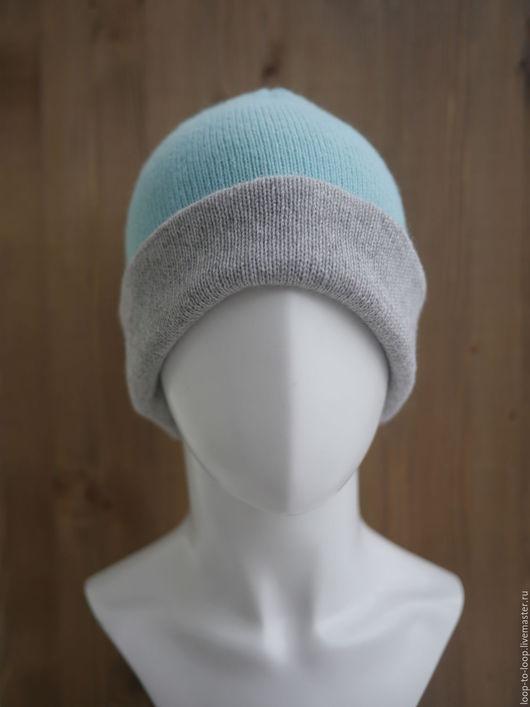 Шапки ручной работы. Ярмарка Мастеров - ручная работа. Купить Двухцветная шапка (женская). Handmade. Мятный, вязаная шапка