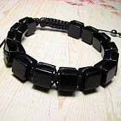 Украшения handmade. Livemaster - original item Men`s black agate Shambhala bracelet