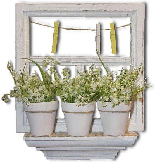 Интерьерное панно Окно с ландышами