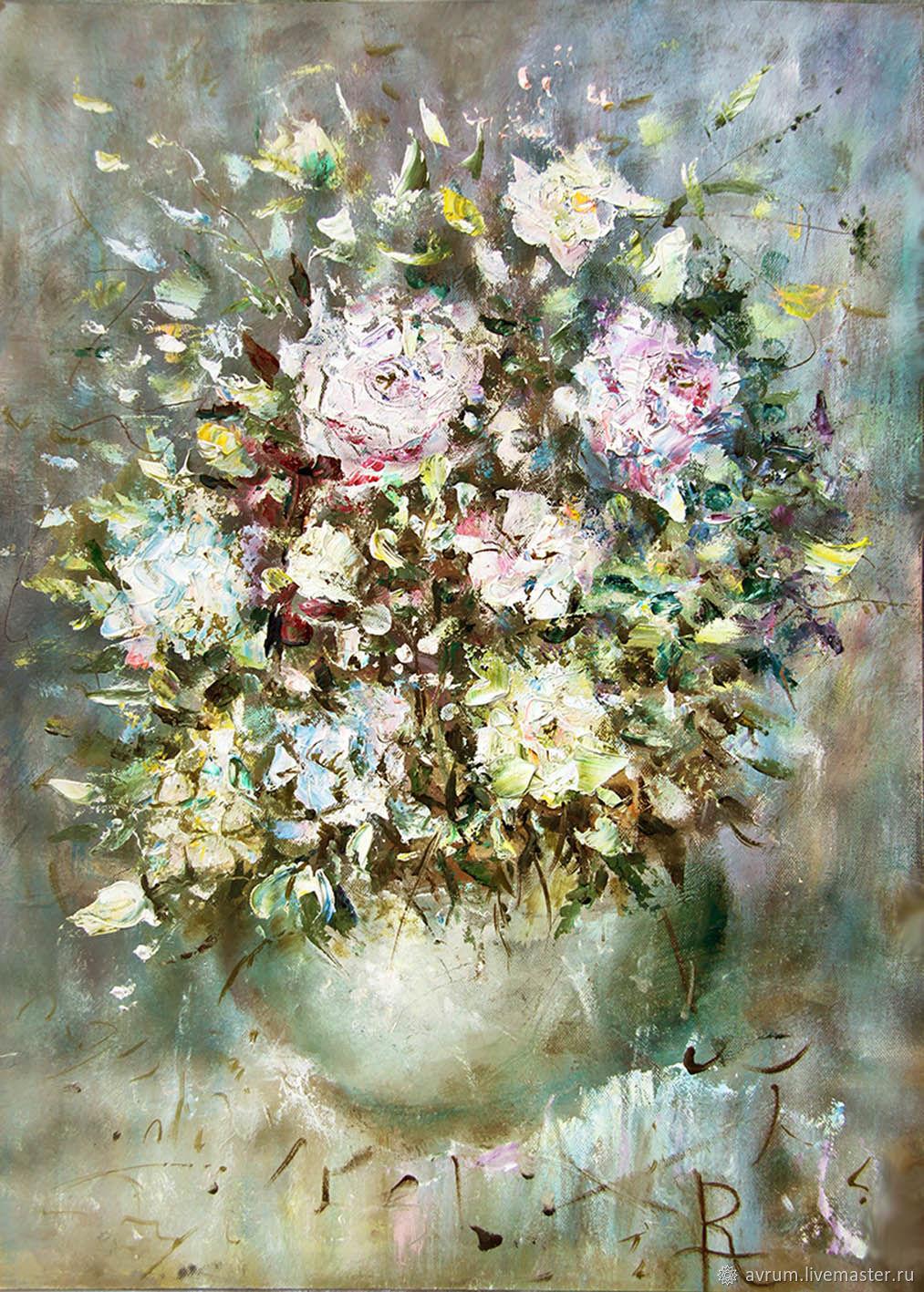Flower Paintings handmade. Livemaster - handmade. Buy Oil painting . Flowers in a large & Oil painting . Flowers in a large vase \u2013 shop online on Livemaster with ...