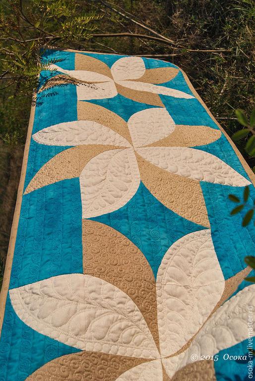 """Текстиль, ковры ручной работы. Ярмарка Мастеров - ручная работа. Купить Квилт """"Небесные цветы"""". Handmade. Синий, лоскутное покрывало"""