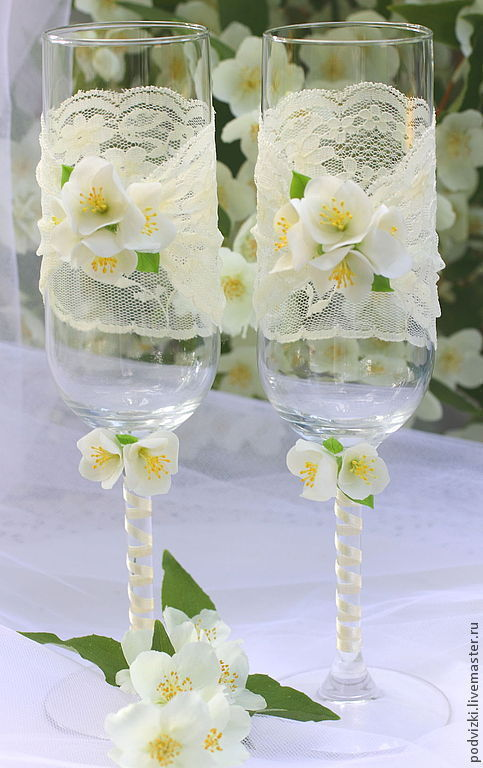 Wedding Accessories handmade. Livemaster - handmade. Buy Wedding glasses champagne Glasses 'Breath of summer'.Wedding glasses
