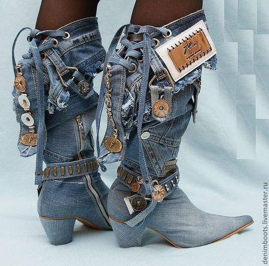 Обувь ручной работы. Ярмарка Мастеров - ручная работа. Купить Казаки джинсовые на каблуке 7см.. Handmade. Синий, казаки