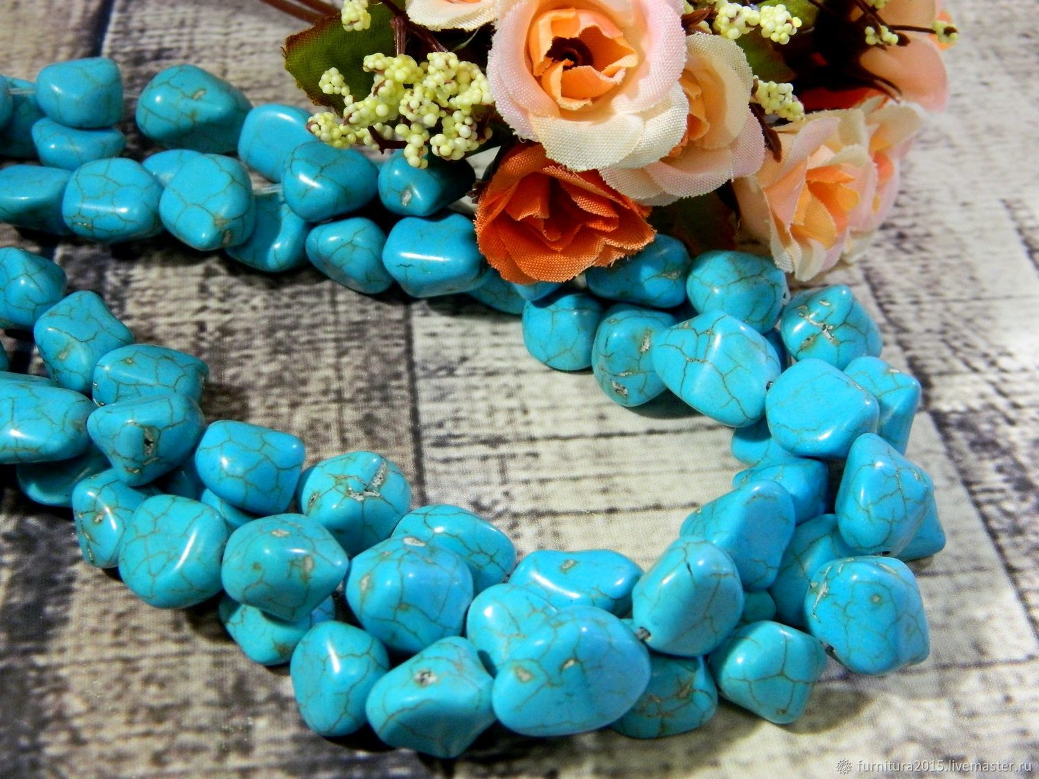 Howlite turquoise nuggets 12 mm remains, Beads1, Saratov,  Фото №1