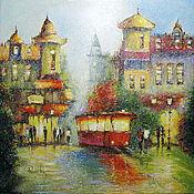 """Картины и панно ручной работы. Ярмарка Мастеров - ручная работа картина """"Городской пейзаж. Трамвай"""". Handmade."""