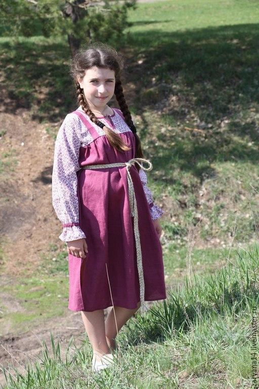 Одежда для девочек, ручной работы. Ярмарка Мастеров - ручная работа. Купить Детское платье-сарафанчик. Handmade. Брусничный, подарок для дочки