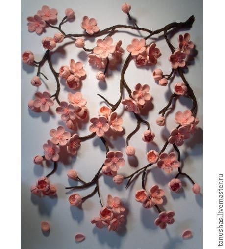 """Картины цветов ручной работы. Ярмарка Мастеров - ручная работа. Купить панно """"Сакура""""  (квиллинг). Handmade. Сакура, бумажные цветы"""