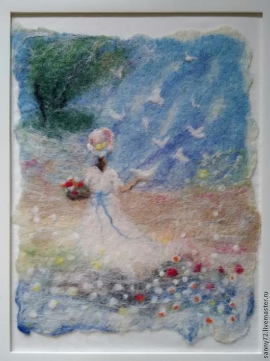 Пейзаж ручной работы. Ярмарка Мастеров - ручная работа. Купить Войлок Весна пришла. Handmade. Разноцветный, войлочная картина