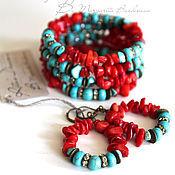 Украшения handmade. Livemaster - original item Coral turquoise jewelry set, bracelet and earrings coral turquoise. Handmade.