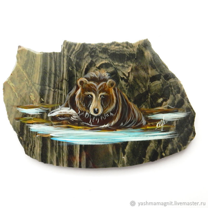 Bear Magnet stone Jasper Souvenirs of Altai, Magnets, Zmeinogorsk,  Фото №1