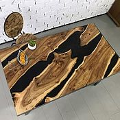 Для дома и интерьера handmade. Livemaster - original item Dining table made of elm slabs with epoxy resin. Handmade.