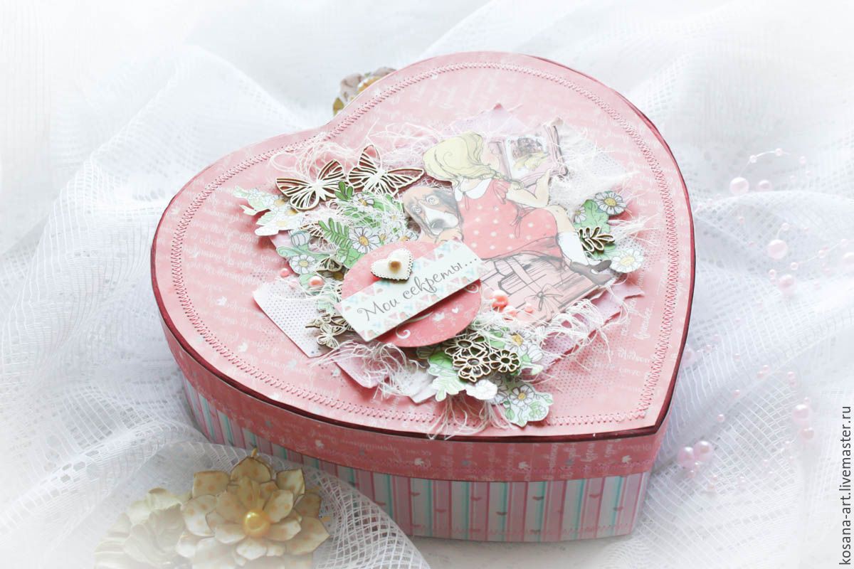 Cards for Women handmade. Livemaster - handmade. Buy Box of secrets / Treasure chest IN STOCK.Pink