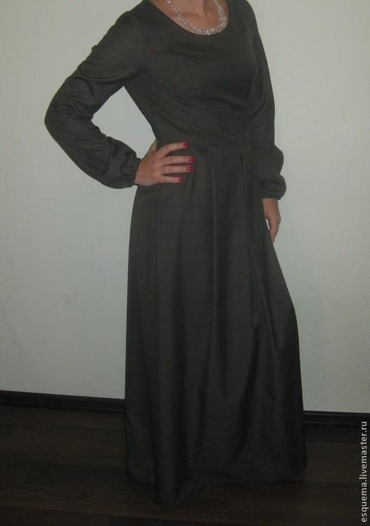 Платья ручной работы. Ярмарка Мастеров - ручная работа. Купить Платье длинное в пол. Handmade. Темно-серый, платье в пол