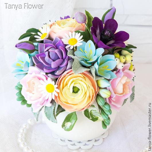 Букеты ручной работы. Ярмарка Мастеров - ручная работа. Купить Букет цветов в вазе. Handmade. Tanya flower, букет фрезий