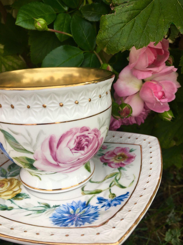 Painted porcelain. A couple of tea 'Summer garden', Single Tea Sets, Kaluga,  Фото №1