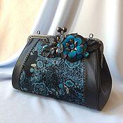 Сумки и аксессуары handmade. Livemaster - original item Leather handbag with clasp Turquoise happiness. Handmade.