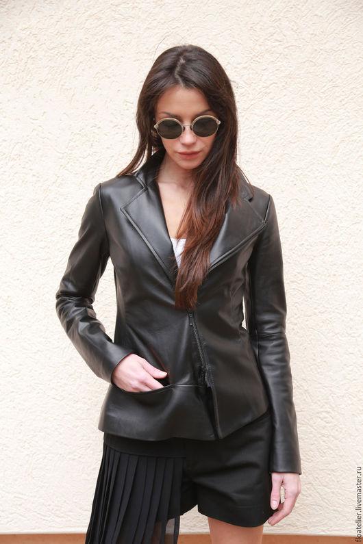 Верхняя одежда ручной работы. Ярмарка Мастеров - ручная работа. Купить Черная куртка из натуральной кожи/Модная куртка из кожи/F1575. Handmade.