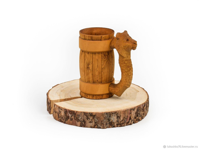 Wooden mug with carved handle ' lion'. Beer mug 0.7 l, Mugs and cups, Tomsk,  Фото №1