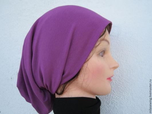 шапка-чулок из  итальянского трикотажа яркого сиреневого цвета , состав: вискоза, эл . Длина 40см.