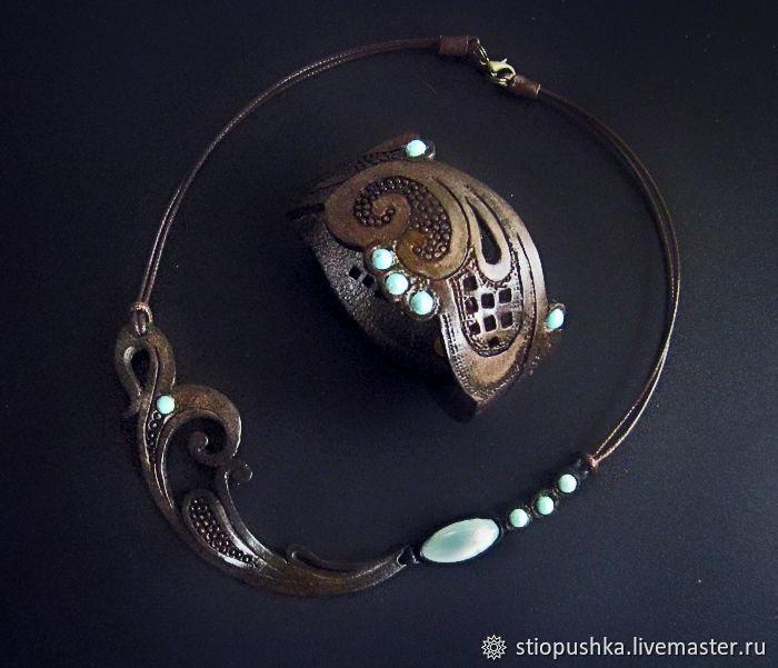 комплект из кожи .Колье и браслет, Колье, Москва,  Фото №1