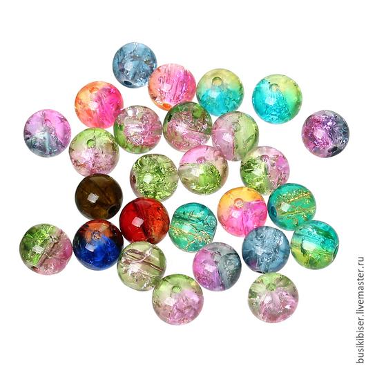 Стеклянные бусины разноцветные 8 мм.