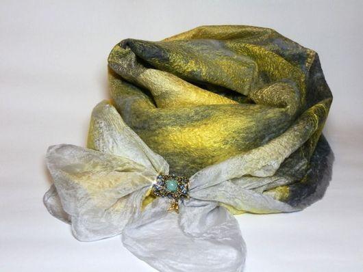 Шарфы и шарфики ручной работы. Ярмарка Мастеров - ручная работа. Купить шарф валяный серо-золотой. Handmade. Желтый, хлопок