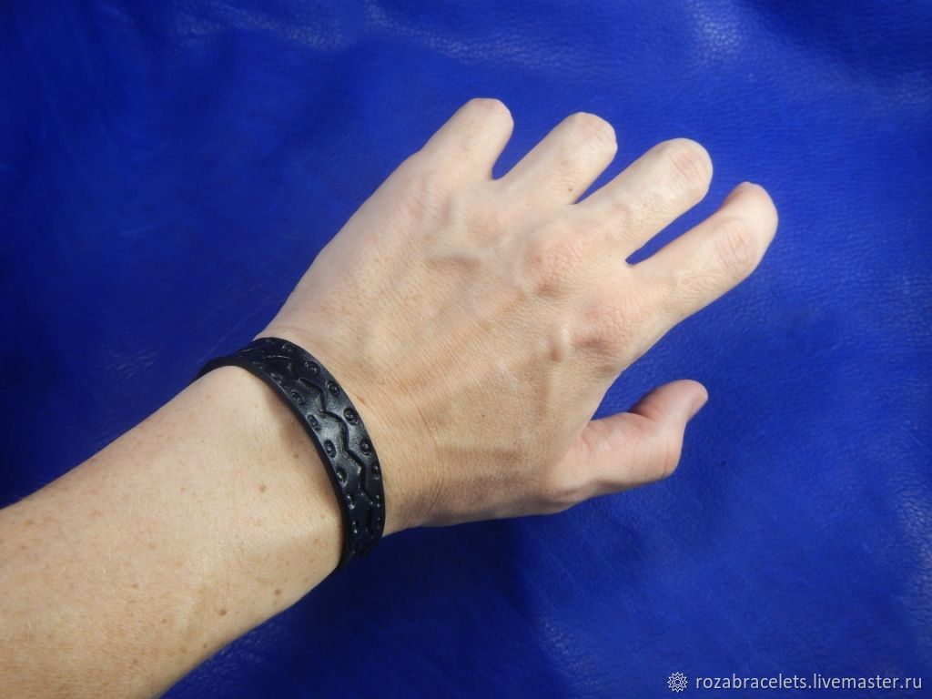 A leather bracelet Zigzag, Bead bracelet, Ulyanovsk,  Фото №1