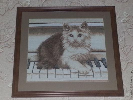 """Животные ручной работы. Ярмарка Мастеров - ручная работа. Купить картина """"Кот музыкант"""". Handmade. Картина в подарок, картина с животными"""