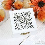 Свадебный салон handmade. Livemaster - original item Box with initials for wedding rings. Handmade.
