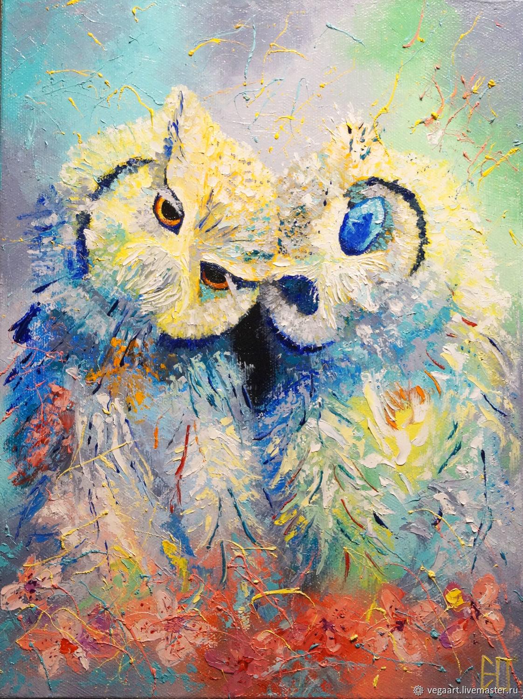 СПИ ЛЮБИМАЯ картина маслом с совами, Картины, Нижний Новгород,  Фото №1