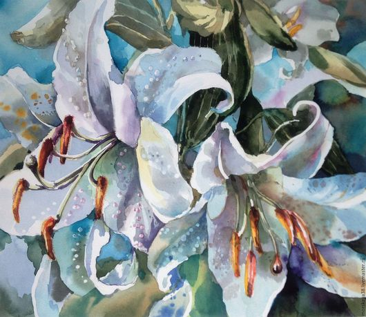 """Картины цветов ручной работы. Ярмарка Мастеров - ручная работа. Купить """"Лилии"""" акварель. Handmade. Акварель цветы, цветы акварелью"""