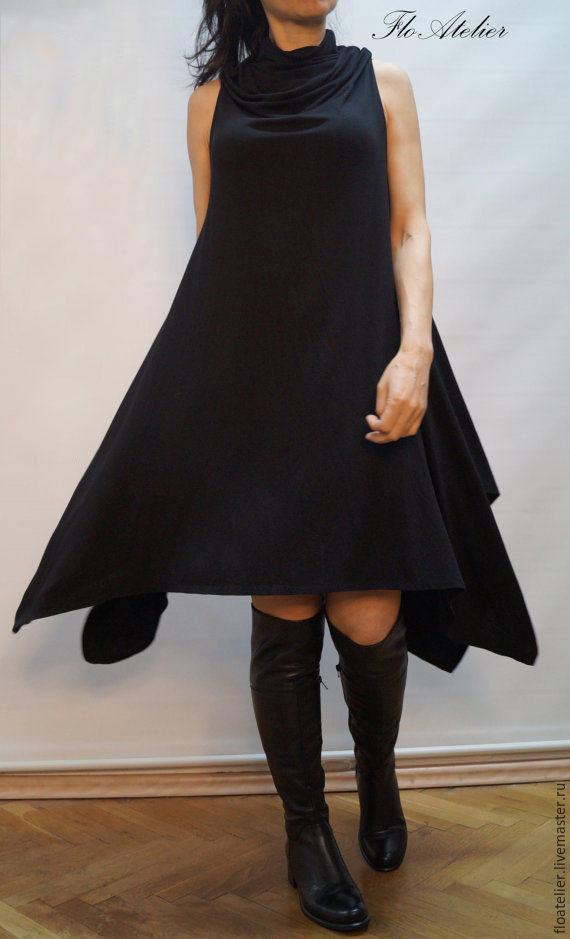 8e77c966ff6 Топы ручной работы. Ярмарка Мастеров - ручная работа. Купить Ассиметричное  черное платье Экстравагантный ...