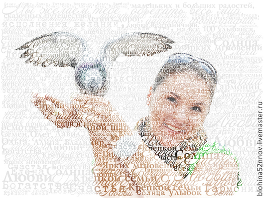 """Персональные подарки ручной работы. Ярмарка Мастеров - ручная работа. Купить Портрет из слов """"День рождения"""" на буквенном фоне. Handmade."""