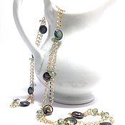 Украшения handmade. Livemaster - original item Long necklace with pendant of pearls and aquaclara. Handmade.