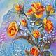 """Картины цветов ручной работы. Ярмарка Мастеров - ручная работа. Купить Картина маслом """"Январская веточка роз"""". Handmade. Цветы"""